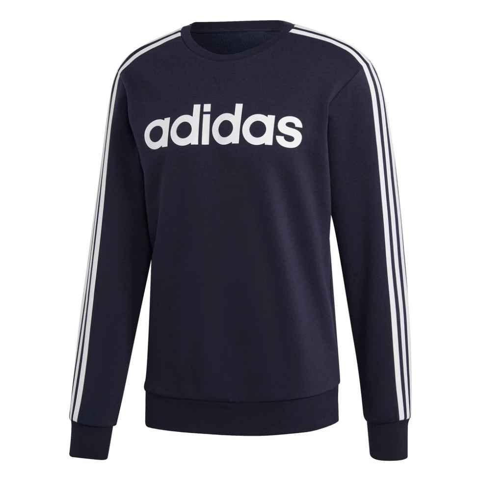 adidas-mens-essentials-3-stripes-fleece-crew-blue-EliteGearSports